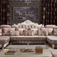 酷可斯1195简欧客厅沙发 欧式双贵妃古典布艺沙发  欧式组合沙发