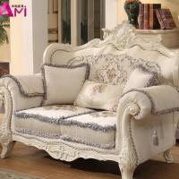 欧式布艺沙发组合 美式实木双面雕花123布沙发 别墅客厅大小户型