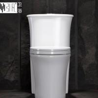 广东卫浴洁具 新款圆筒水箱连体马桶坐便器 坐厕坐式大便器
