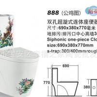 888手彩彩绘陶瓷优等品坐便器贴牌马桶超旋连体座便器贴牌OEM