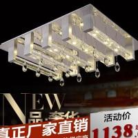 澜阁现代简约风LED客厅灯长方形气泡水晶柱吸顶灯饰客厅卧室灯
