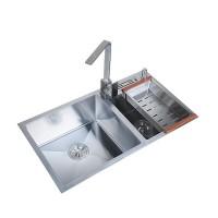 厂家批发厨房手工水槽304不绣钢带刀架双槽加厚4MM洗菜盆洗碗池水池定做